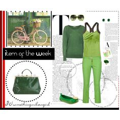 Color of The Year - Emerald with green pants and sweater by taggica on Polyvore | #emerald #outfit #green #sporty #WarmSpring #SpringAutumn