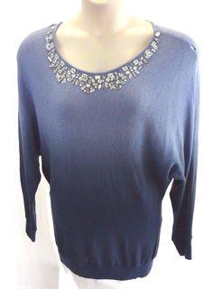 INC INTERNATIONAL CONCEPTS Blue Hombre Long Sweater Rhinestone Collar Size XL #INCInternationalConcepts #ScoopNeck