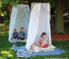 Little tents with hool a hoops and bed sheets