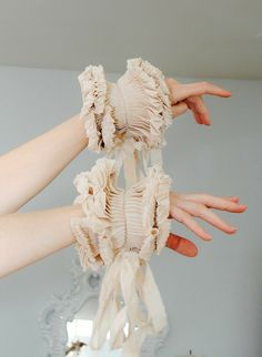 made accessories hand made Beige detachable pleated cuffs/Wrist ruffle/Hand made accessories/Couture cuffs/Sleeve detail/Ruffled sleeve/Fabric bracelet/ Fashion Mode, Fashion Week, Fashion Art, Fashion Show, Fashion Outfits, Womens Fashion, Fashion Design, Amarillis, Multiple Outfits