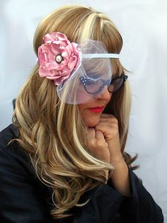 $8.00 - Bridal Floral Stretch Headband with Soft Pink Flower and White Blusher by Once Upon A Poodle at https://www.etsy.com/listing/120953659/bridal-floral-headband-womens-boho-chic?ref=v1_other_2