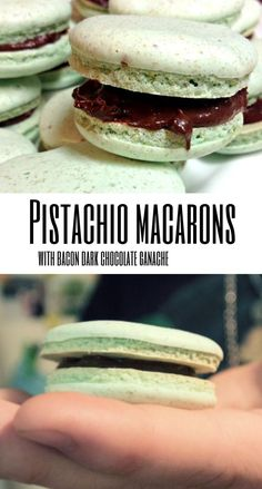 These Pistachio Macarons with Bacon Dark Chocolate Ganache are dripping with chocolatey goodness! Chocolate Filling, Chocolate Lovers, Chocolate Ganache, Pistachio Macarons, Salmon Burgers, Baked Goods, Cookie Recipes, Easy Meals, Meals