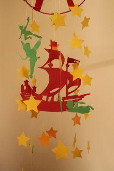 Carusel mobil Peter Pan.  Carusel mobile creat special pentru camera bebelusului sau se poate agata in orice camera a casei. Este lucrat manual, din carton gros, rosu, verde si galben. Pentru mai multe poze sau comenzi, va astept cu like, share si comentari pe pagina mea de facebook. Pursuit of Happiness:)