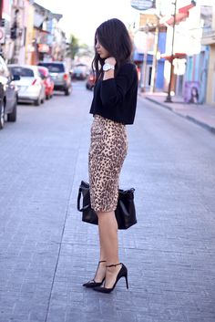 leopard pencil skirt                                                       …