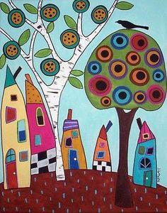 Tapete Para Artesanato Papel Padrão Feliz Casas Folk Art Abstrata Karla Gerard