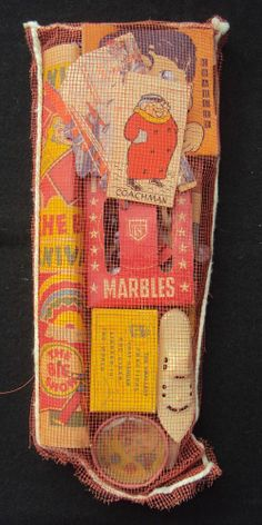 Vintage Christmas Stocking store bought with toys already in it.  1950's