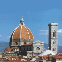 Duomo: This is the grand cathedral of Florence, and bears the lengthy official name of Basilica di Santa Maria del Fiore. It is traditionally called the Duomo because of its large, distincitve dome. This is perhaps the single most well-known landmark of the city.