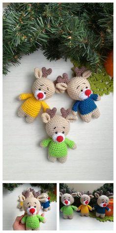 Crochet Teddy Bear With Free Patterns - Diy & Crafts Crochet Christmas Decorations, Christmas Crochet Patterns, Holiday Crochet, Crochet Animal Patterns, Crochet Doll Pattern, Crochet Dolls, Crochet Sloth, Crochet Animal Amigurumi, Amigurumi Patterns