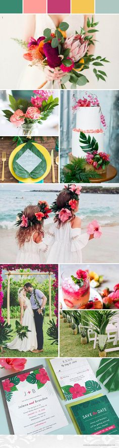 With vibrant pops of color, an ocean breeze, and exotic floral details, this tropical destination wedding inspiration will have you dreaming about a getaway wedding in paradise.