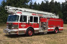 San Juan Island Fire & Rescue Ladder 317; 1999 Spartan/Darley/ American LaFrance 65' Telesqurt.  1500/500 30A/20B.  Former Friday Harbor Fire Department Engine 7.