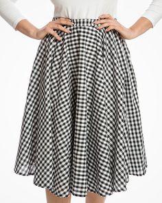d799b8e72dd3ac 'Peggy Sue' Black Gingham Full Circle Skirt Circle Skirt Outfits, Full Circle  Skirts. '
