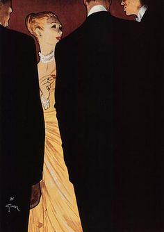Art Illustration Vintage, Illustrations, Dress Illustration, Obey Art, Rene Gruau, Classic Paintings, Vintage Paintings, Vintage Art, Military Art