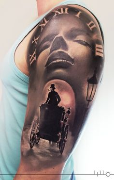 Rainer Lillo Sleeve in progress, Tattoo, Clock, black and grey, noir, old clock, woman face, mystic, a dissolute man