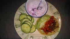 Homemade taco, blackberry Greek yogurt & cucumbers
