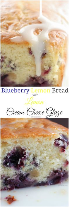 Blueberry Lemon Bread - Sweet bread studded with fresh blueberries, hints of lemon, and drizzled with a decadent lemon cream cheese glaze | The Chunky Chef