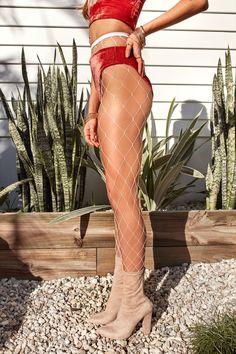 Blair Fishnet Stockings (White) | Xenia Boutique | Women's fashion for Less - Fast Shipping