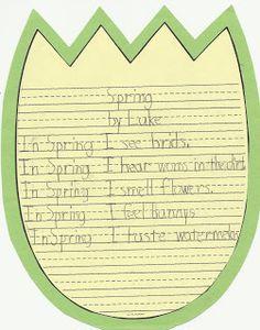 First Class Teacher Kindergarten Writing, Kindergarten Activities, Writing Activities, Teaching Writing, Spring Activities, Reading Resources, Teaching Ideas, Spring Poem, First Grade Classroom