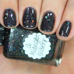 Lynnderella A Midnight Glittery   Peachy Polish