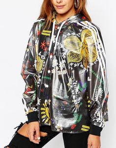 Shop adidas Originals Pharrell Williams 3 Stripe Festival Print Poncho  Jacket at ASOS.