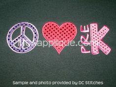 peace love preschool | School : MCA Applique, Designs And Supplies