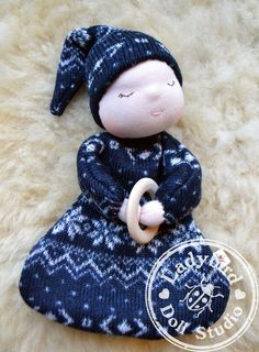 Natural waldorf teether doll - perfect christmas gift for babies - Nordic knit in blue on Etsy, £25.00