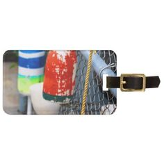 Buoys on the Fence Tag For Bags #travel #tags #luggage #lobster #maine #buoys #zazzle #texaseaglegallery