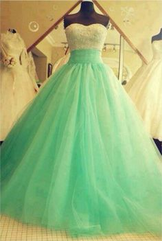 Teal sweetheart strapless prom dress