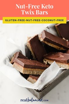 These Nut-Free Keto Twix Bars can be made in less than 1 hour and are a perfect keto copycat candy bar recipe. They are nut-free and coconut-free as they are made without almond flour or coconut flour, as well as being gluten-free and vegetarian-friendly. They are freezer-friendly and can be made in advance and frozen for 2-3 months. If you are looking for a delicious and low-carb chocolate bar recipe, you'll love these keto Twix bars! #realbalancedblog #ketochocolatebar #ketocopycatrecipe
