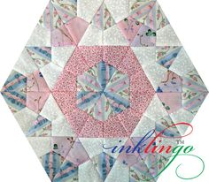 Rose Star quilt blocks are a relaxing portable project. Print precise lines on fabric OR print your own templates for English Paper Piecing with Inklingo. Longarm Quilting, Quilting Tips, Quilting Tutorials, Quilting Designs, Star Quilt Blocks, Star Quilts, Scrappy Quilts, Hexagon Quilt, English Paper Piecing