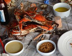The presentation here is a typical crab meal. With newspaper spread out and beer in abundance, crabs are dumped in the center of the table, and grabbing them can be a free for all. Each one contains only a small amount of edible meat, so it's very easy to go through eight or nine or more in a sitting.    http://i1.trekearth.com/photos/144235/te115_crabs.jpg