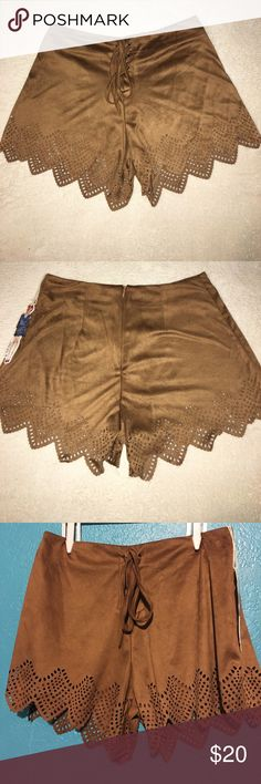 Boho faux suede shorts w/ lace up front ✌🏽 NEW Bohemian lace up front brown shorts with laser cut bottom. Festival ready! 100% polyester. Very different! This brand has been sold at Nordstrom B-Sharp Shorts