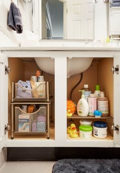 Weekend Upgrade A Bathroom Organization Transformation - Bathroom cabinet organization, Baby bathroom organization, Apartment bathroom, Bathroom organization, College ba - Bathroom Cabinet Organization, Bathroom Cabinets, Bathroom Storage, Organization Ideas, Storage Ideas, Storage Cart, Door Storage, Creative Storage, Kitchen Storage