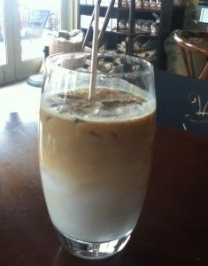 Starbucks Iced caffe latte - hold the syrup!  Sugar-free with no artificial sweetener.  I add 1/3 to 1/2 a packet of stevia.  Perfect!