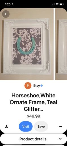 Emma Love, Teal, Glitter, Frame, Home Decor, Picture Frame, Decoration Home, Room Decor, Frames