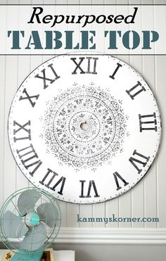 Kammy's Korner: Huge Faux Clock From Repurposed Coffee Table Top - Medallion stencil is Cutting Edge Stencil's Prosperity Mandala