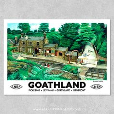 Print of London and North Eastern Railway Goathland poster. Yorkshire England, North Yorkshire, New York Central Railroad, British Travel, Train Art, Railway Posters, Vintage Travel Posters, Lake District, Poster Prints