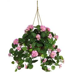 Beautifully made pink geranium flower silk plant with hanging basket. Product code: Wholesale prices on high quality hanging baskets. Small Artificial Plants, Fake Plants, Artificial Flowers, Indoor Plants, Indoor Outdoor, Potted Plants, Porch Plants, Outdoor Privacy, Outdoor Spaces