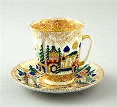 Picturesque Middle Age Russian City stretched on this cup. Each house is unique you will not find two identical houses! This is wonderful, bright and shiny item, it is a real treasure