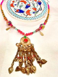 Tribal KUCHI necklace , belly dance necklace , gypsy necklace ,nomad , bohemian necklace, KUCHI dangle necklace , middle eastern necklace by Nezihe1 on Etsy