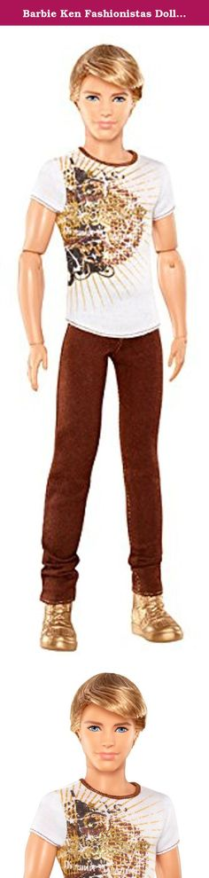 Barbie Ken Fashionistas Doll with Brown Jeans and White Tee. Express your fashion personality with Barbie Fashionistas. This Ken Doll features trendsetting fashion. Each doll has a distinct personality reflected in their clothes and accessories and features 9 points of articulation for unlimited poseable fun. Pair your Ken Fashionista Doll with other Barbie Fashionista Dolls. Strike a pose and express your fashion personality with Barbie Fashionistas. Product Dimensions: 5 (L) x 2.38 (W)…