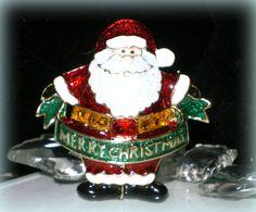 Vintage Santa Claus Pin..Santa Claus Brooch..Merry Christmas Pin..Christmas Brooch..Flashing Light Brooch..Enamel Jewelry..90s New Old Stock by VintageTrinkets4u on Etsy