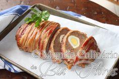 Bolo de carne com ovos e bacon | O Mundo Culinario de Bia Flores