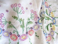 Vintage Hand Embroidered Multicoloured Tablecloth by TheWhistlingMan on Etsy