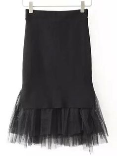 Shop Black Sheer Mesh Hem Slim Skirt online. SheIn offers Black Sheer Mesh Hem Slim Skirt & more to fit your fashionable needs.