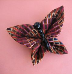 Butterfly Brooch Tsumami Kanzashi Pin by empressbarrettes on Etsy, $25.00