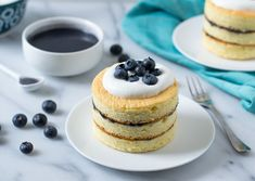 Blueberry Curd Buttermilk Chiffon Cakes with Buttermilk Whipped Cream
