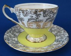 Elizabethan+Cup+And+Saucer+Yellow+And+White+by+AntiquesAndTeacups,+$28.00