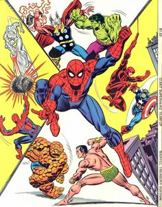 Marvel Treasury Edition #9 (1976) cover and backcover by Gil Kane and John Romita.