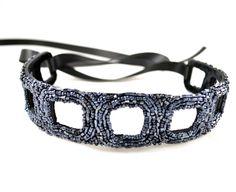 Gunmetal Beaded Ribbon Headband with Negative Geometric Design | www.MegansBeadedDesigns.com #headband #hairaccessory
