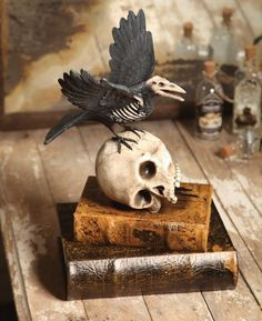 Halloween Decoration - Haunted Raven on Skull by Kensington Row Collection